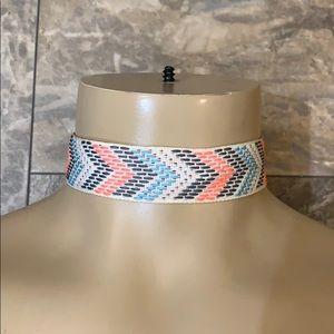 Buckle Boho Chevron Print Ribbon Choker